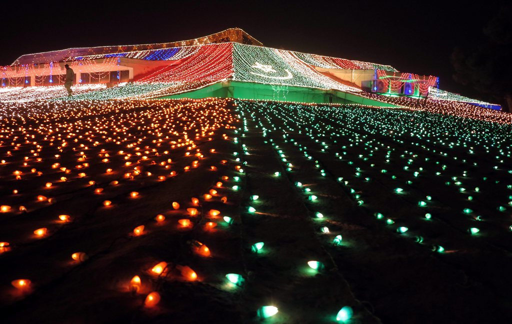 Lichterdekoration zum Unabhängigkeitstag Pakistans, Quetta