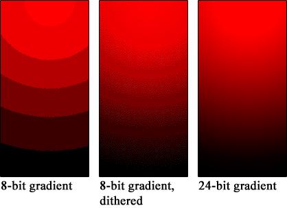Bild 2: Banding in Abhängigkeit von der Farbtiefe (Quelle: Wikipedia)