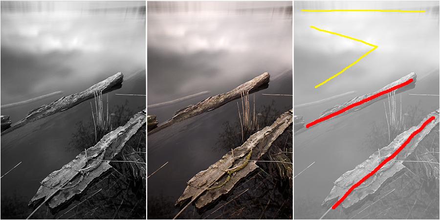 Vergleichsarbeit: Links Schwarzweiß, mittig Farbe, rechts Kompositionsskizze (25 Sekunden bei Blende f/14, 28 mm Brennweite, ISO 400)