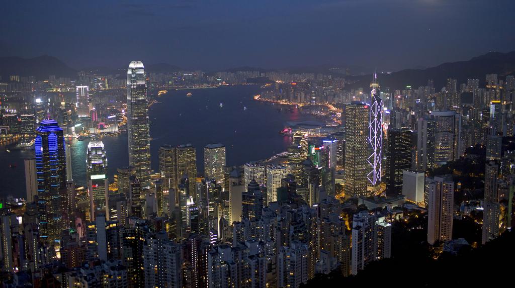 Nächtliche Skyline von Hongkong  (AP Photo/Vincent Yu)