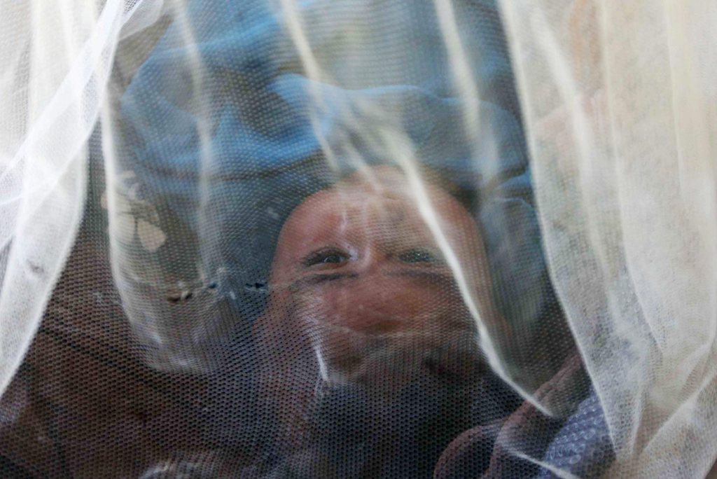 Kind unter einem Moskitonetz in Pakistan EPA/SHAHZAIB AKBER