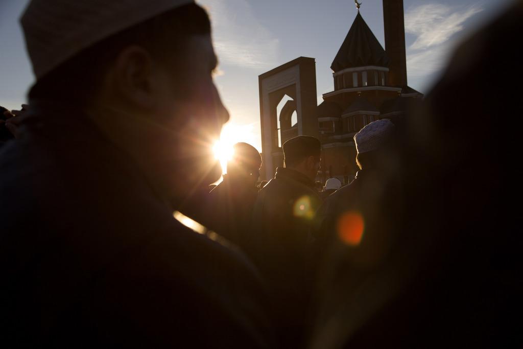 Morgengebet zum islamischen Opferfest, Moskau Russland (AP Photo/Ivan Sekretarev)