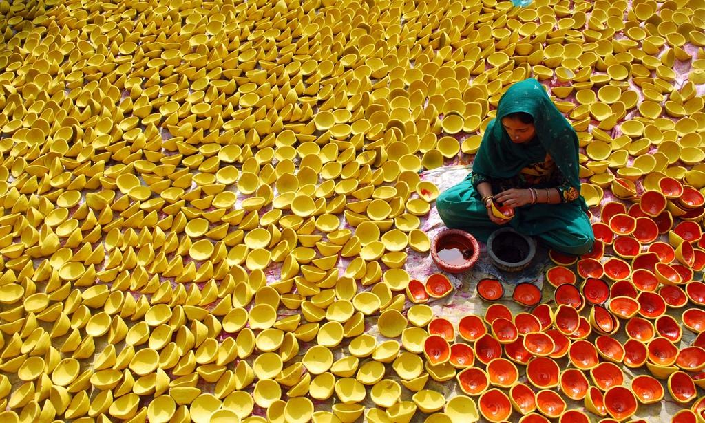 Vorbereitungen für Diwali in Amritsar, Indien (Keystone/AP Photo/Prabhjot Gill)