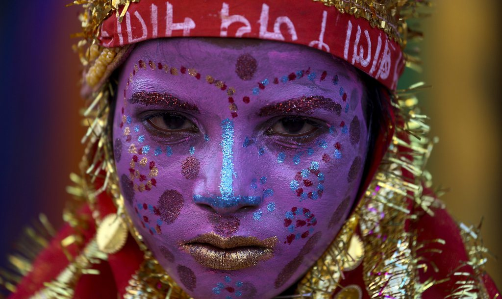 Ein Mädchen als Hindu-Göttin, Pushkar Indien  EPA/DIVYAKANT SOLANKI