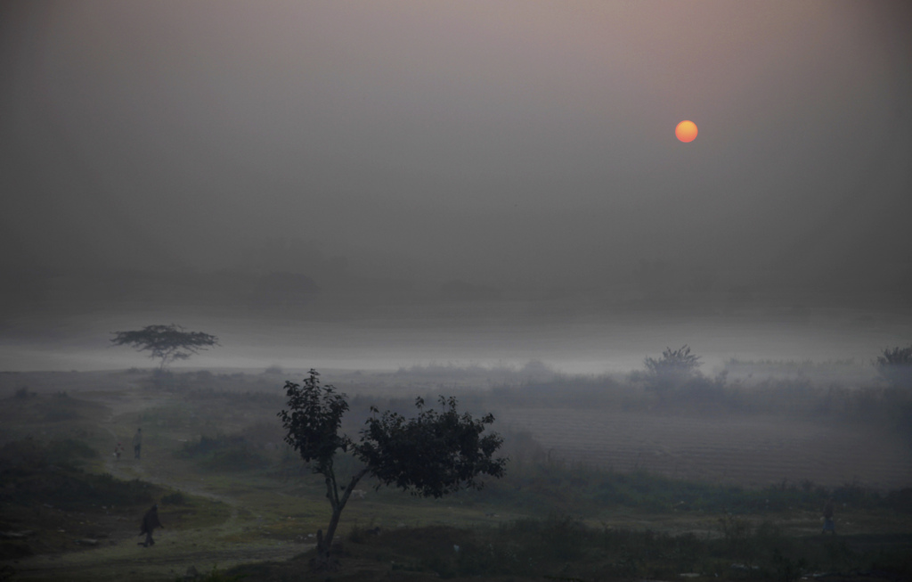 Bei Sonnenaufgang nahe Neu Delhi Indien  (AP Photo/Altaf Qadri)