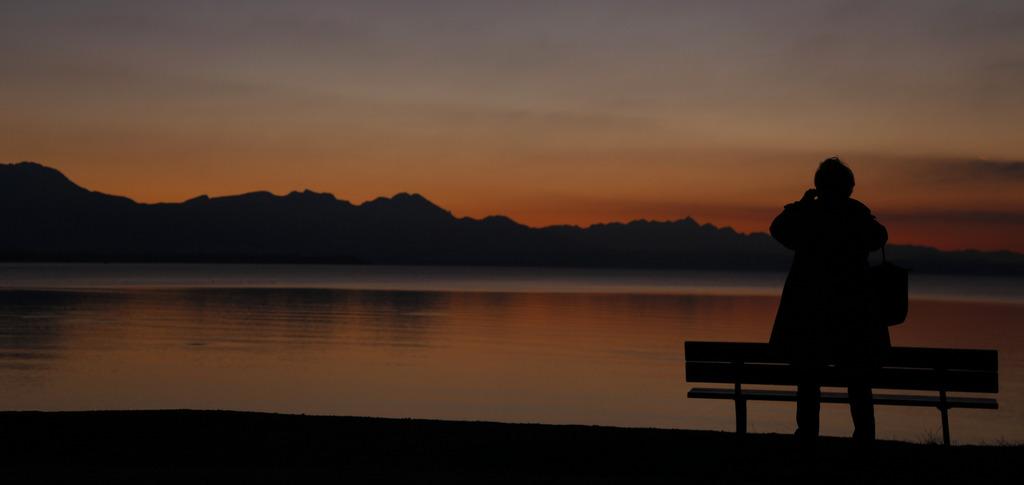 Sonnuntergang in Seebruck, Deutschland (Keystone/AP Photo/Matthias Schrader)