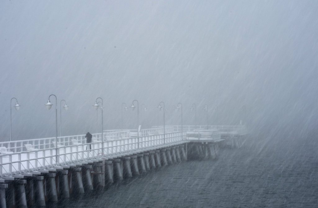 Schneefall in Gdynia Orlowo, Polen (Keystone/EPA/Adam Warzawa)