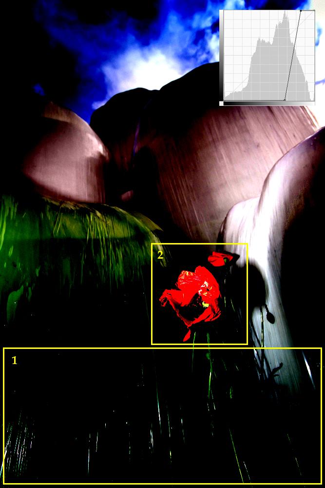 Tonwerte: Posterisation zur Darstellung von Blitzartefakten und Reinfarbigkeit