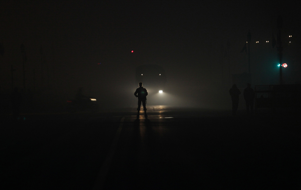 Am Morgen der Parade zum Republic Day in Neu Delhi, Indien (Keystone/AP Photo/Tsering Topgyal)