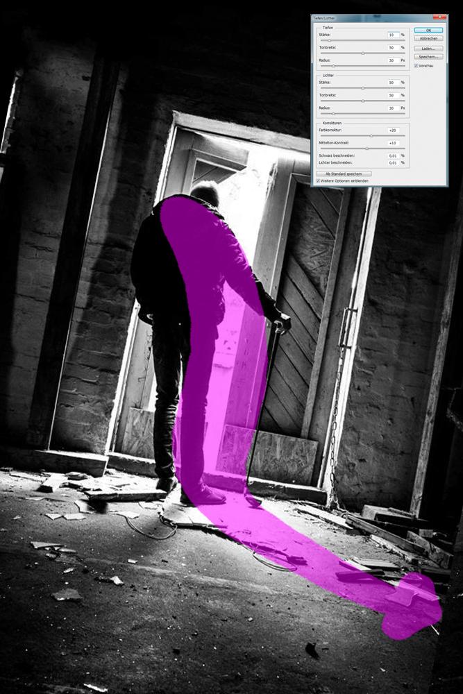 Überarbeitung 1: Verkippung, Beschnitt, Tonwertnormalisierung und Blickführungsänderung