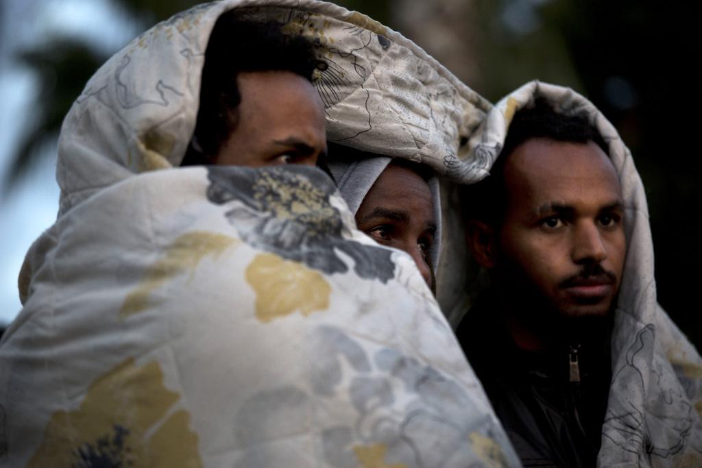 Migranten aus Afrika bei einer Protestaktion in Tel Aviv Israel (AP Photo/Oded Balilty)