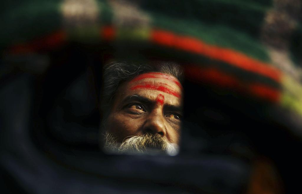 Spiegelbild in Bhubaneswar, Indien (Keystone/AP Photo/Biswaranjan Rout)