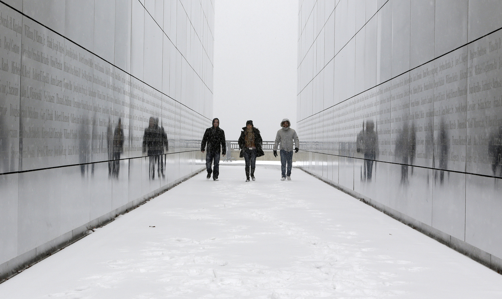 Touristen im Sky Memorial in Jersey City, USA (Keystone/AP Photo/Julio Cortez)