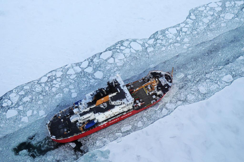 Eisbrecher auf dem St. Marys River, USA (Keystone/AP Photo/U.S. Coast Guard)
