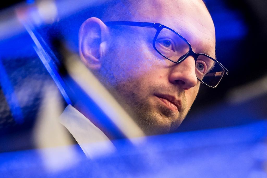 Der ukrainische Premierminister Arseniy Yatsenyuk in Brüssel, Belgien (Keystone/AP Photo/Geert Vanden Wijngaert)