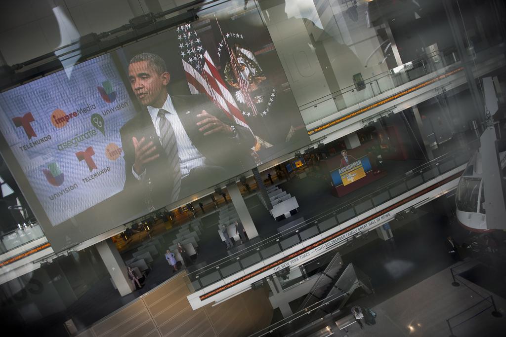 Obama auf einem gewaltigen Bildschirm in Washington, USA (Keystone/AP Photo/Pablo Martinez Monsivais)