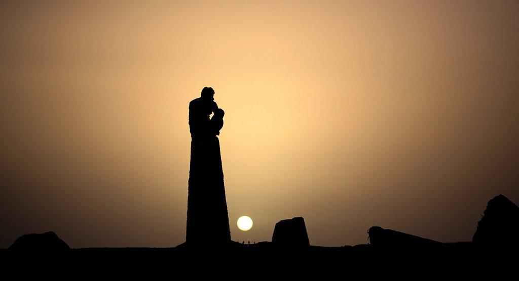 Sonnenuntergang über Gaza Stadt (Keystone/EPA/Mohammed Saber)
