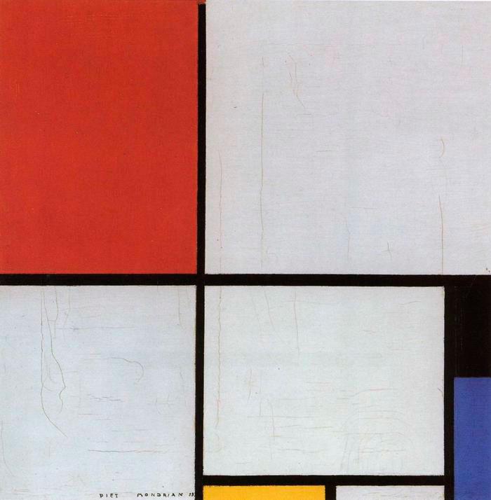 Abb. 3: Piet Mondrian, 'Komposition mit Rot, Schwarz, Blau und Gelb' (gemeinfrei)