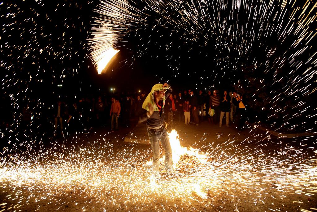 Feuerwerk in Theran, Iran (Keystone/AP Photo/Vahid Salemi)