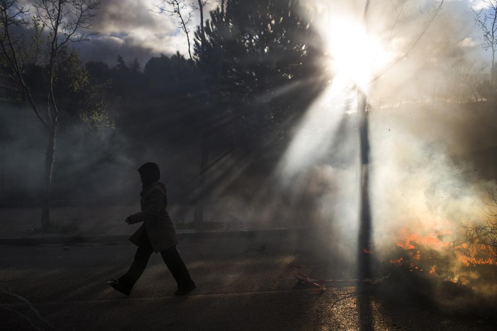 Feuer in Madrid, Spanien (Keystone/AP Photo/Andres Kudacki)