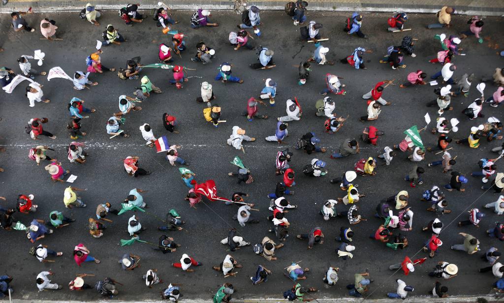 Protestanten bei einem Generalstreik in Asuncion, Paraguay  (AP Photo/Jorge Saenz)