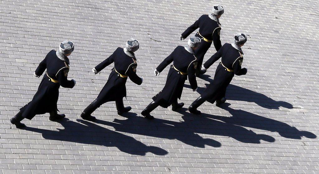Soldaten in Moskau, Russland (Keystone/EPA/Yuri Kochetkov)
