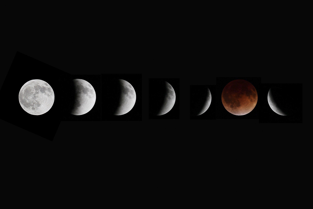 Fotoüberlagerung - Phasen der Mondfinsternis,  Winnipeg, Manitoba, Kanada (AP Photo/The Canadian Press, John Woods)