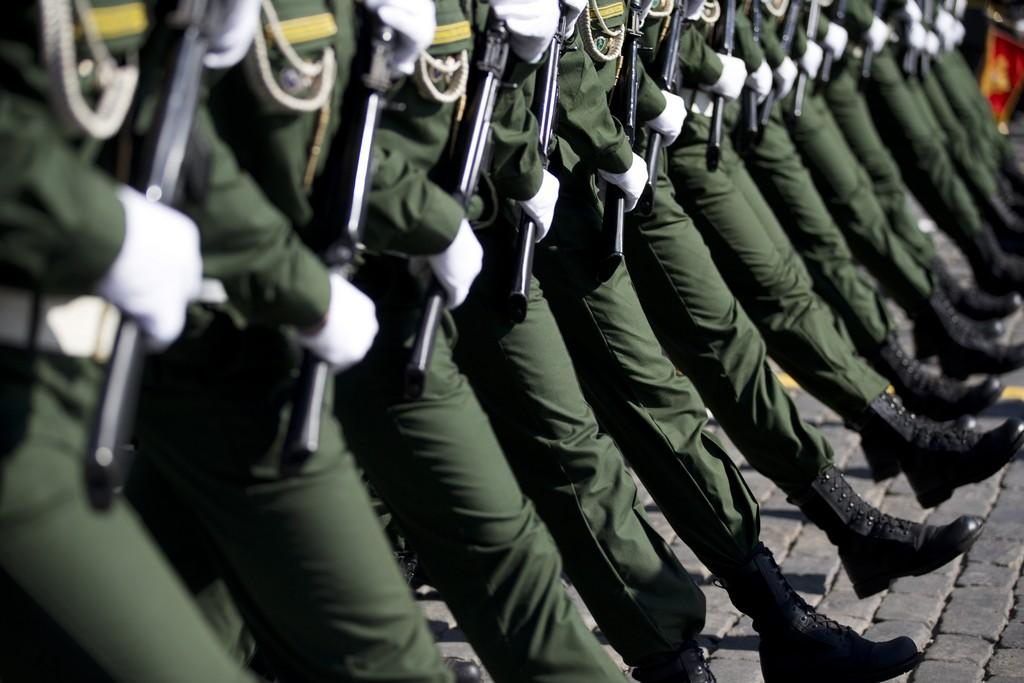 Parade in Moskau, Russland (Keystone/AP Photo/Pavel Golovkin)