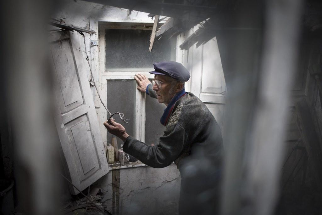 Schäden in Slovyansk, Ukraine (Keystone/AP Photo/Alexander Zemlianichenko)