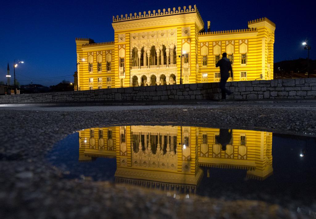 Das renovierte Rathaus von Sarajewo, Bosnien-Herzegowina (AP Photo/Amel Emric)
