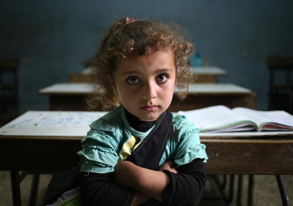 Syrisches Flüchtlingsmädchen in Kaitaa, Libanon (Keystone/AP Photo/Hussein Malla)