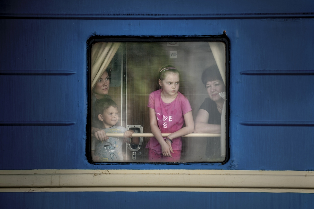 Zugfahrt in Donetsk, Ukraine (Keystone/AP Photo/Evgeniy Maloletka)