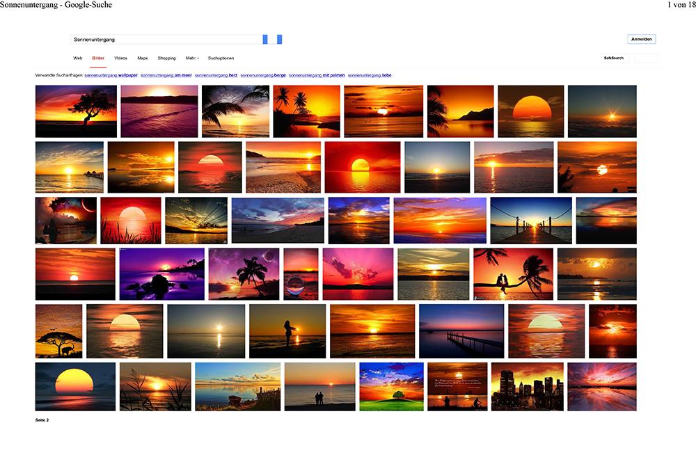 Abb. 2: Bildersuche nach 'Sonnenuntergang' bei Google