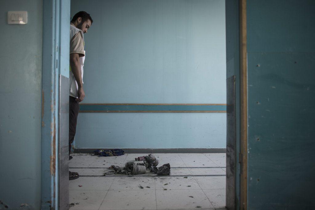 Szene aus einem Krankenhaus in Gaza Stadt (Keystone/EPA/Oliver Weiken)