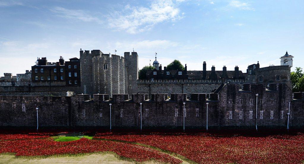 Mohnblüten vor dem Londoner Tower zur Erinnerung an den Beginn des Ersten Weltkriegs vor 100 Jahren, EPA/ANDY RAIN