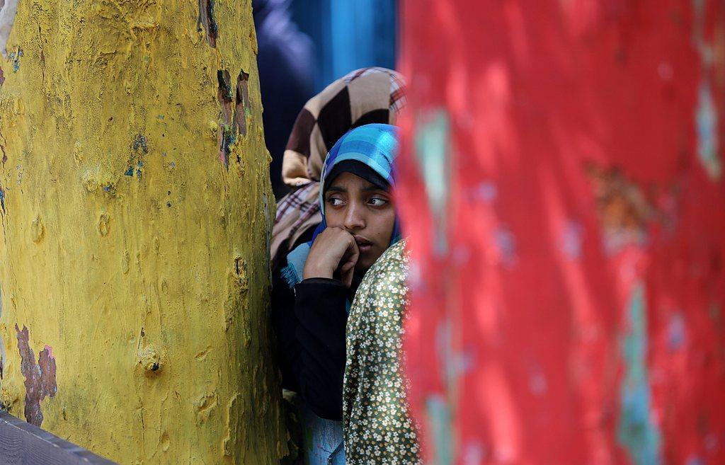 Ein Mädchen in der UN Schule in Jabalia, Gaza-Streifen (Keystone/EPA/Mohammed Saber)