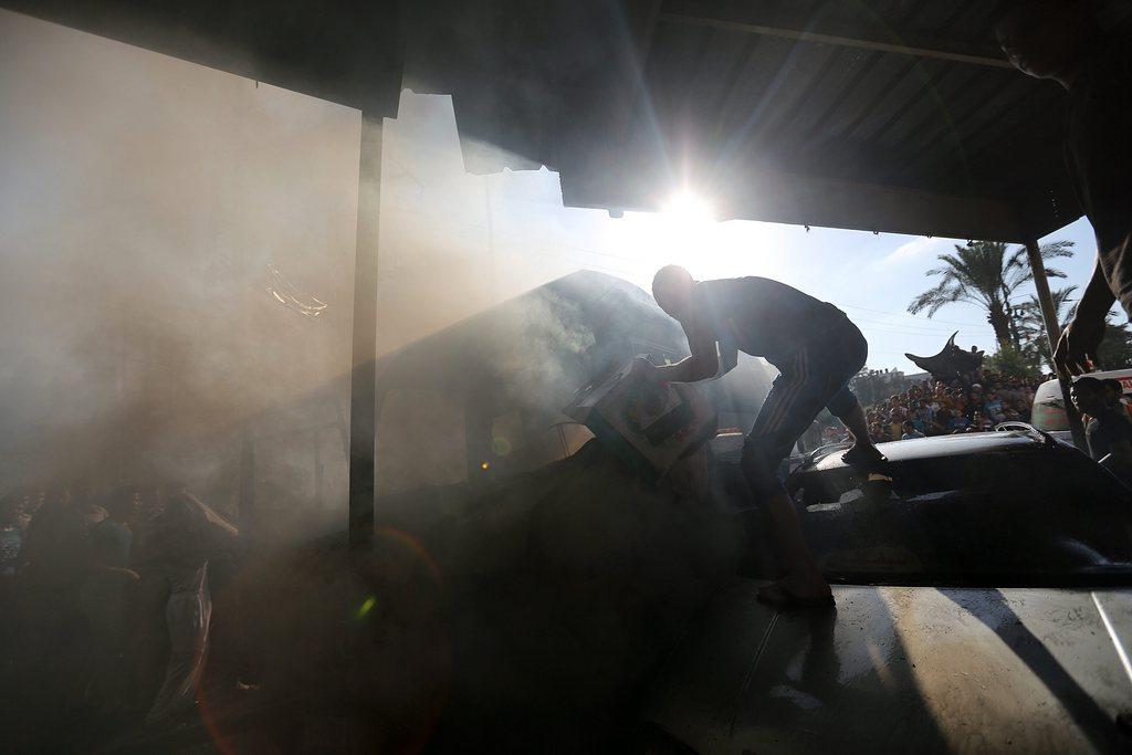 Zerstörter Bus in Gaza Stadt (Keystone/EPA/Modammed Saber)