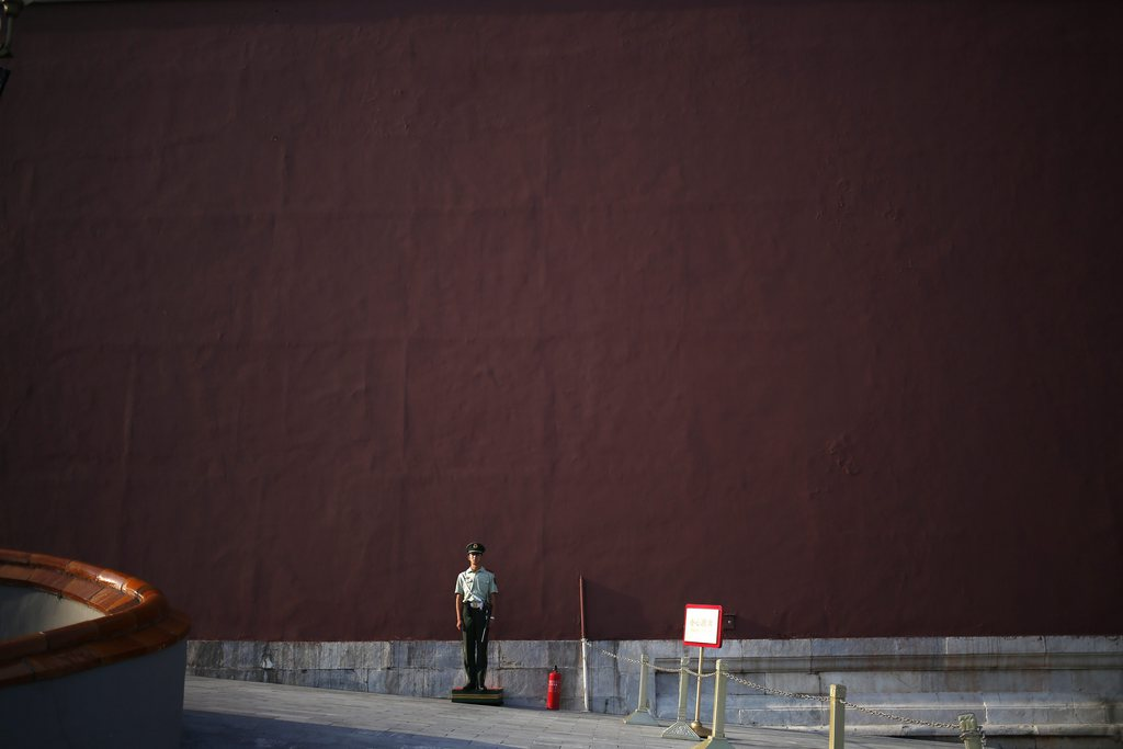 Soldat vor der Verbotenen Stadt in Beijing, China (Keystone/EPA/How Hwee Young)