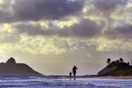 Sturmwolken über Kailua, USA (Keystone/AP Photo/Luci Pemoni)