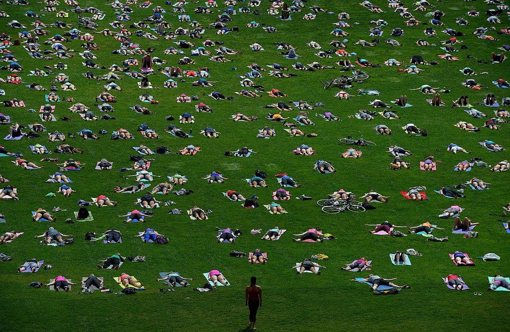 «Yoga On The Hill» in Ontario, Kanada (Keystone/AP Photo/Sean Kilpatrick)