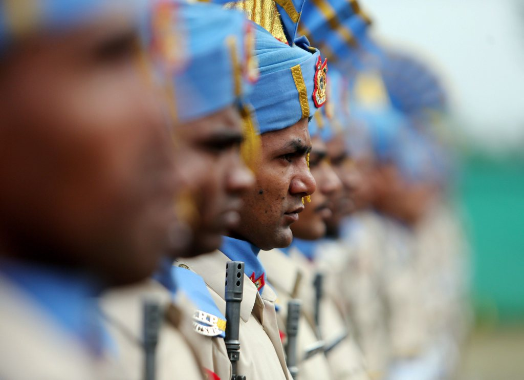 Polizeirekruten in Srinagar, Indien (Keystone/EPA/Farooq Khan)