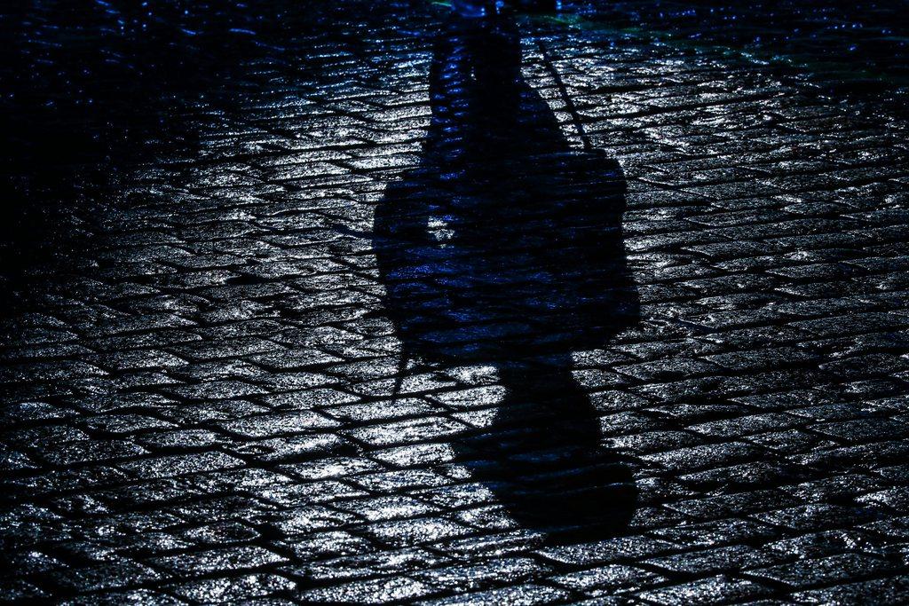 Schatten auf dem nassen Pflaster: Soldat der kasachischen Präsidentengarde bei einer Parade auf dem Roten Platz in Moskau, Russland,  EPA/SERGEI ILNITSKY