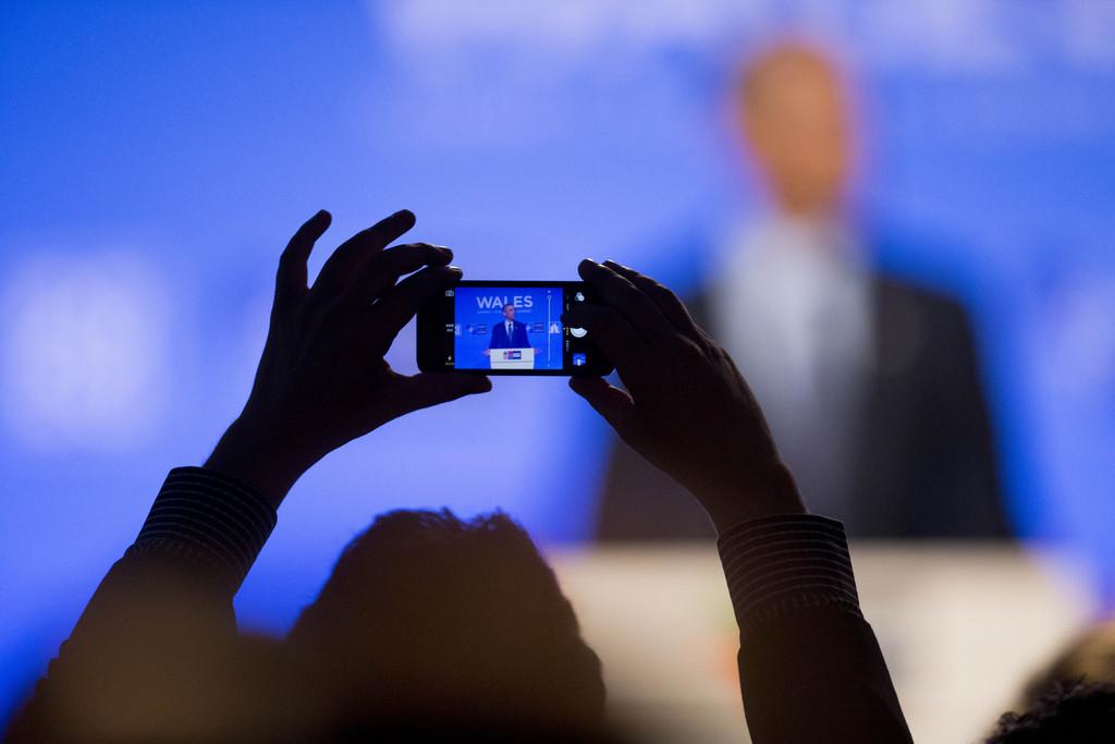 Rede von Barack Obama in Newport, Wales (Keystone/AP Photo/Jon Super)