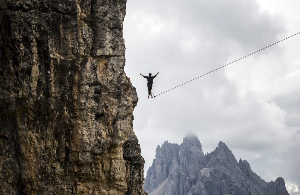 Hochseilartisten in Monte Piana, Italien (Keystone/EPA/Balazs Mohai)