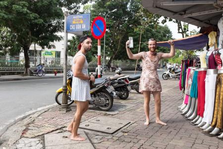 Touristen, Kleid, Rock, Männer, lustig
