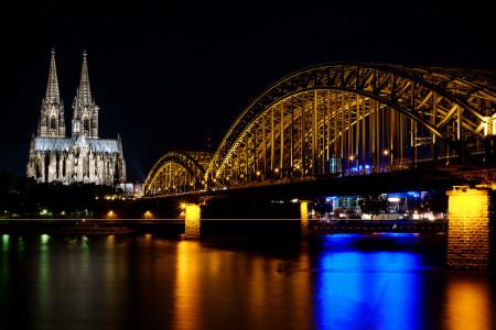 Köln, Dom, Kirche, Brücke, Nacht