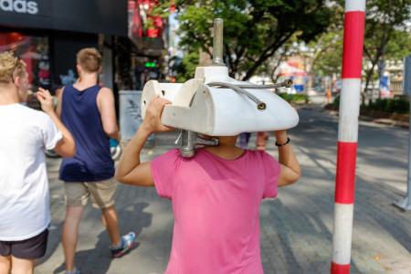 Spüle, Straße, Mann, Vietnam, Saigon
