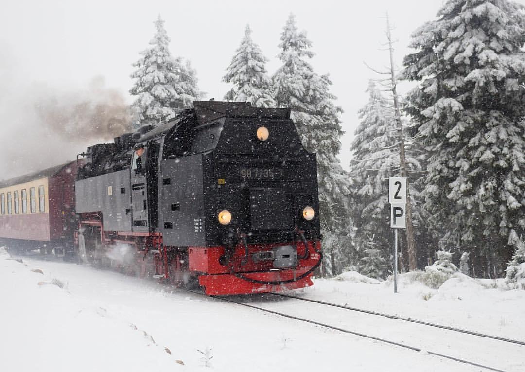 Brockenbahn im Winter, Foto Dampflok