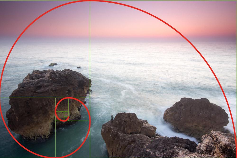 Die Fibonaci-Spirale löst das Bild in mögliche goldene Schnitte auf - hier aber ohne erkennbare Folge.