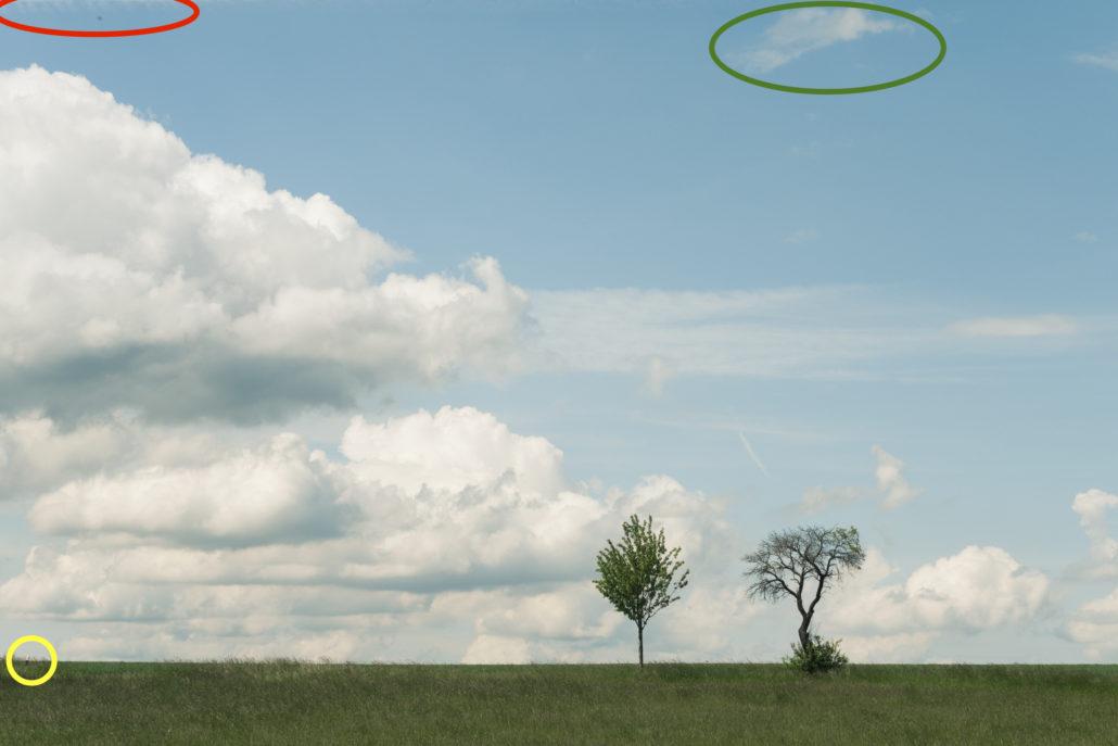 Problemzonen: Schmutz, Wolken-Leck, Strassenrandmarkierung.
